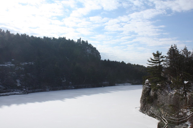 A sunny view of the snowy lake-the tower is the building we hiked to