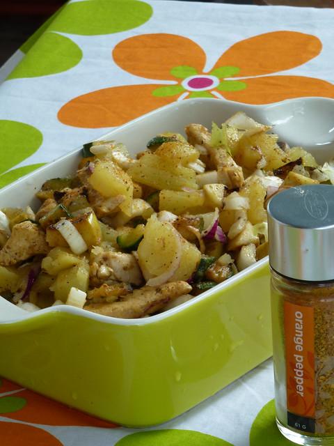 potato salad with mint marinated zucchini & turkey - insalata di patate con zucchine & tacchino marinati alla menta