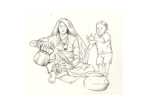 Coe_woman and child-pencil