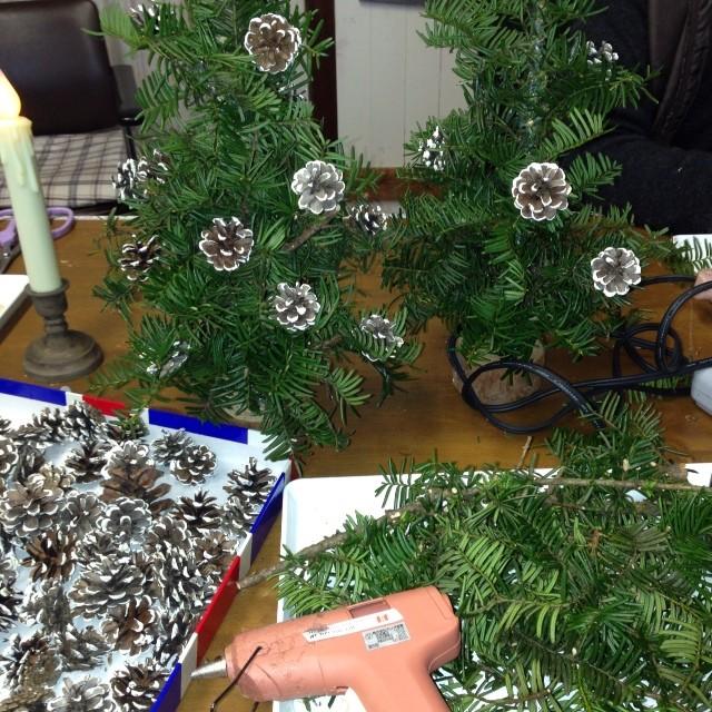 本物のモミの木を使ってミニツリーを作ってます(*^^*)あとは飾り付け〜(^O^)デコると可愛いよ〜