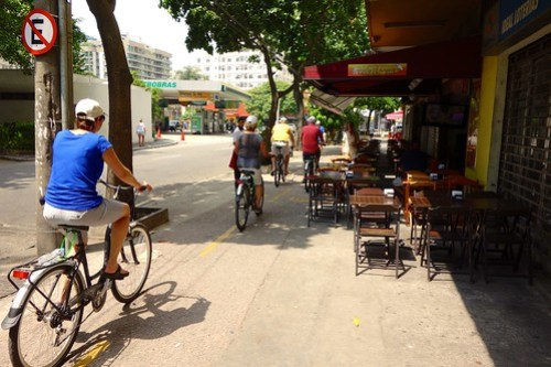 Passing shops, pubs and restaurants in Rio