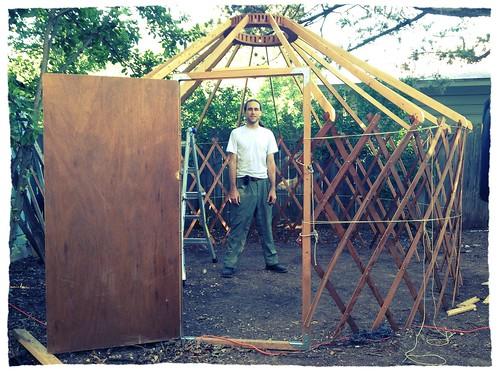 Me standing in the smaller yurt.
