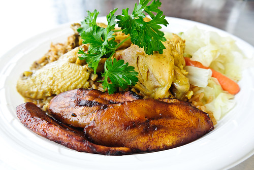 Curry Chicken, Rice and Beans, Plantains, Cabbage