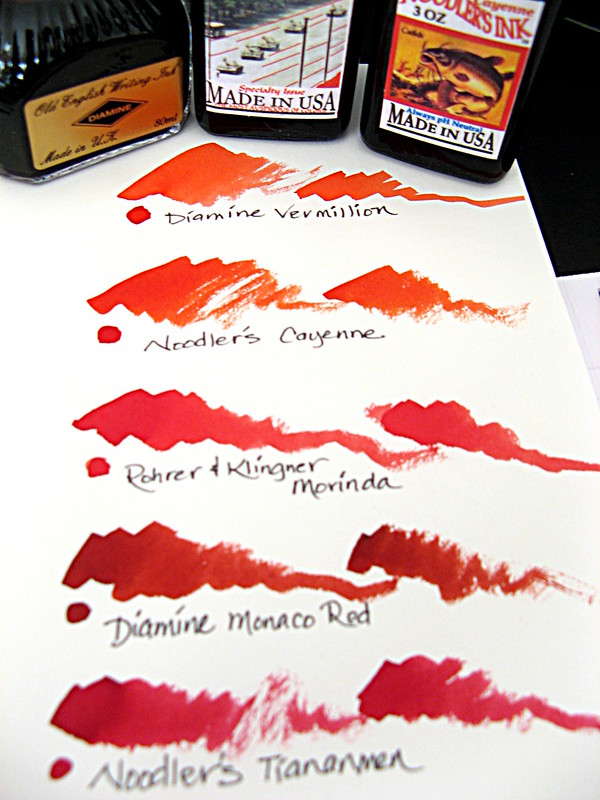 Red Inks with Bottles