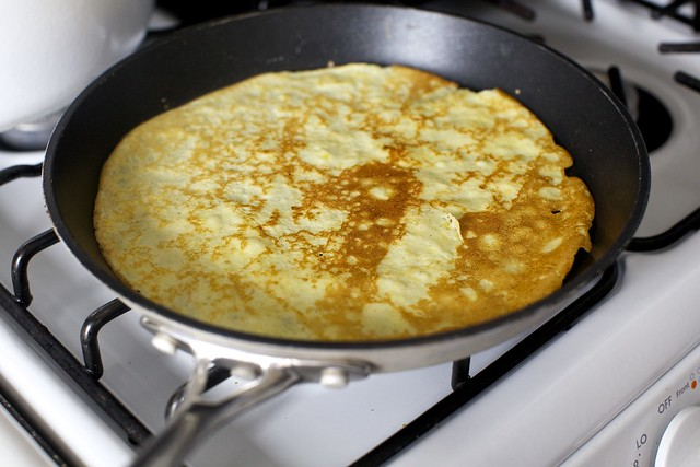 flipped corn crepe