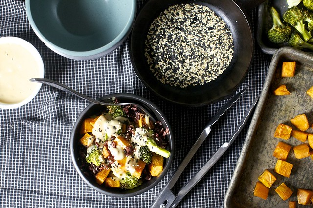 miso sweet potato + broccoli bowl
