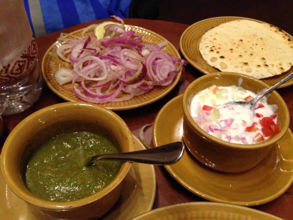 Onions, Chutney and Yogurt for the Roti