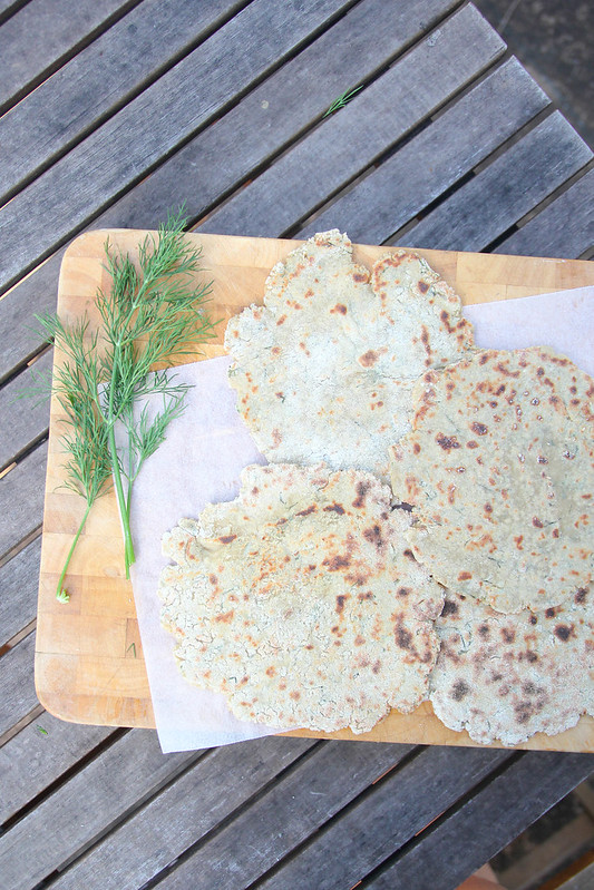 quinoa-amaranth flatbreads w dill and garlic