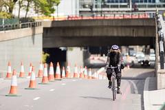 Cyclist on London's Embankment