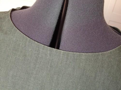 green denim Simplicity 5723 neck view