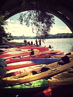 Kayaks under the Key Bridge