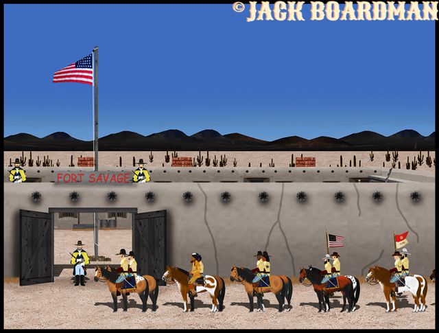 Cooper's Troop at Fort Savage gates