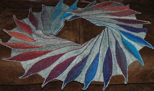 Hand spun shawl - dreambird pattern