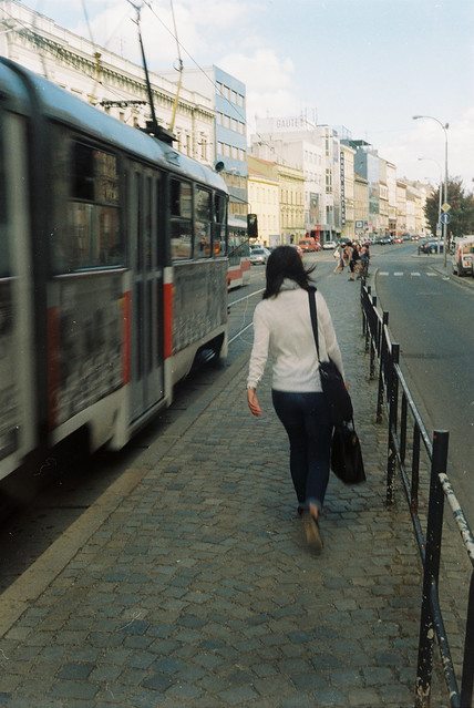 Arriving Tram (vintage camera, scan from film)