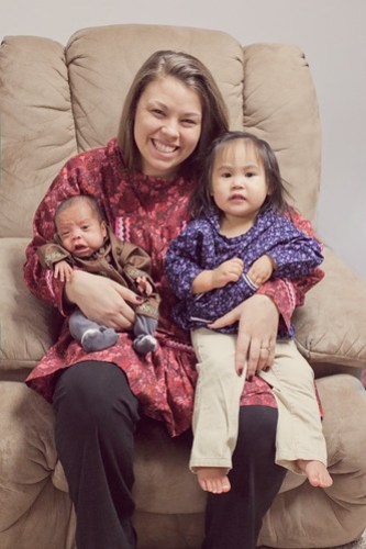 Aunt Sarah with Kaitlyn and Levi in Kuspuks