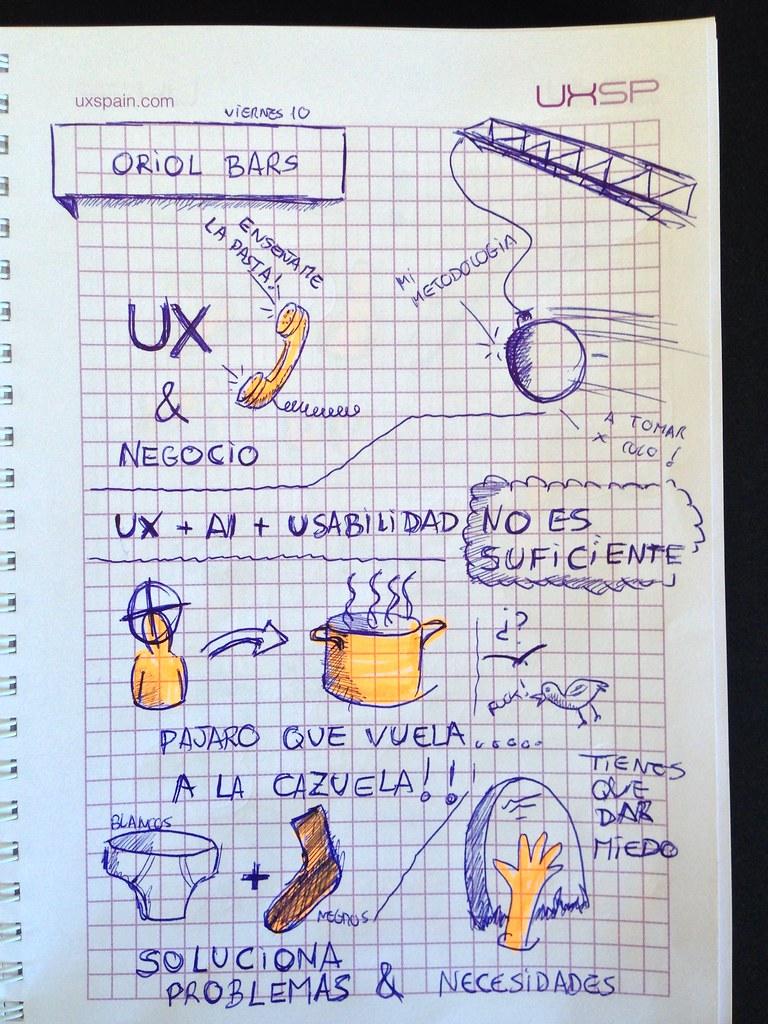 Javier Alonso Gómez graphic recording. UxSp Oriol Ibars: Propuesta de Valor, negocio y UX. Las partes de un ecommerce que pagan la fiesta