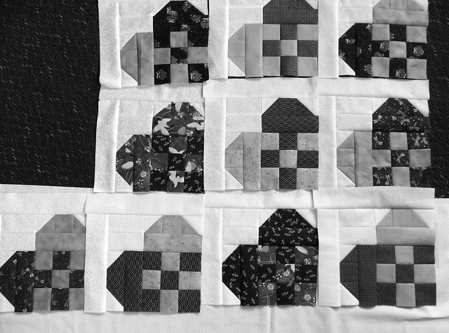 Hearts Blocks - black and white