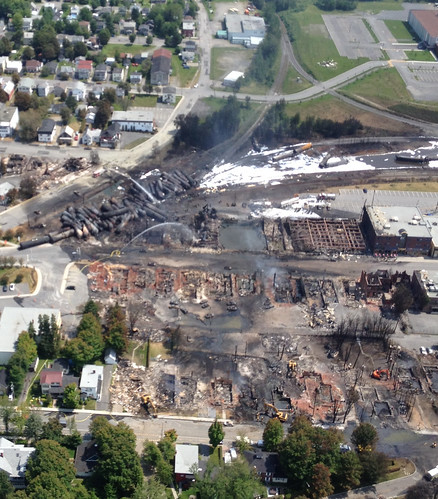 Close-up aerial view of site after explosion