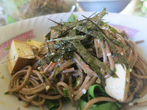 Soba noodles with chive, parsley and miso pistou
