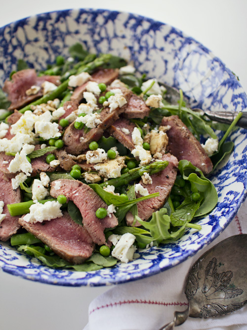 lamb, pea, fetta & mint salad