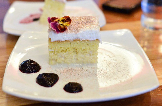 TRES LECHES CAKE With blueberry sauce