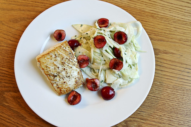 fish with apple fennel slaw