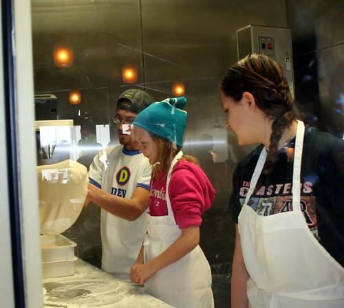 Megan and Alyssa Making Pizza