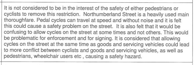 NorthumberlandSt - council response