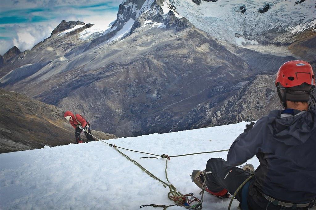 Finally out of the abyss! Yanapaccha glaciar .Cordillera Blanca. Peru.