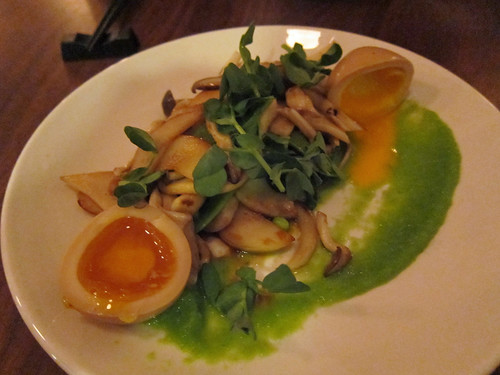 Mushrooms, sugar snap peas, egg, soy yuzu brown butter