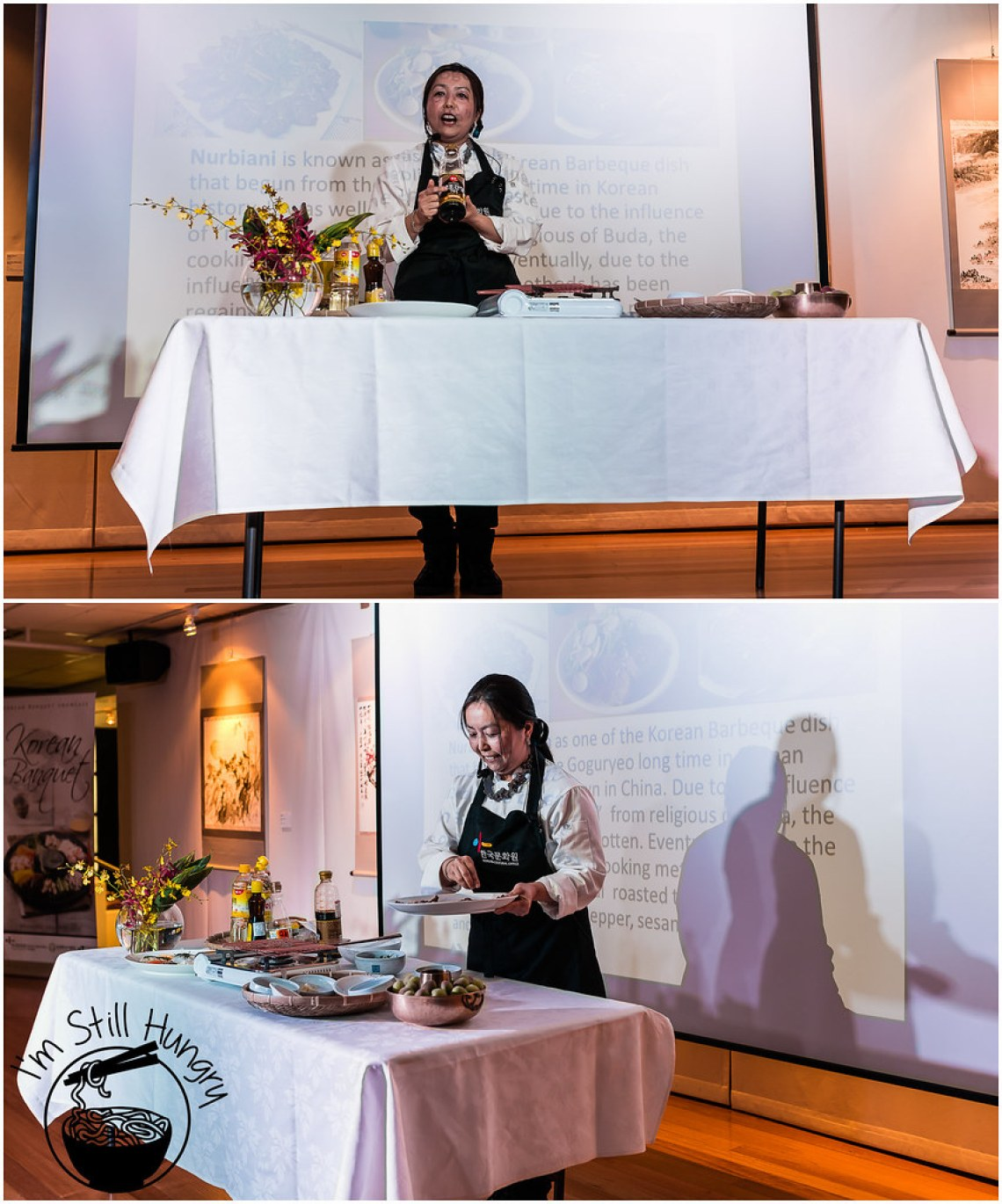 Heather Jeong giving a talk on Nurbiani and Korean fine dining korean banquet showcase