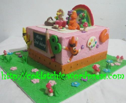 Cake barney dan sekolah