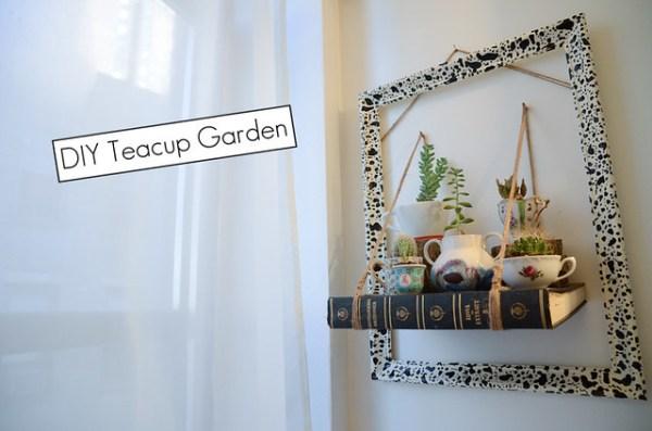 DIY Teacup Garden with Book Shelf