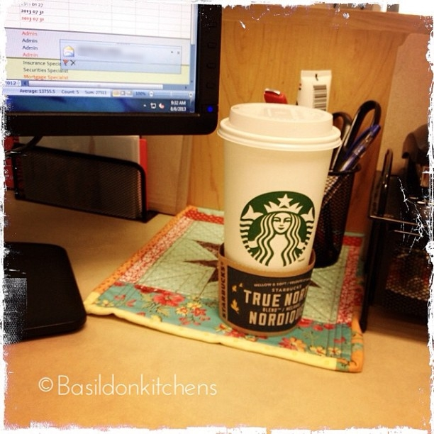 Aug 6 - try {trying to wake up after a long weekend - hoping a large coffee does the trick} #photoaday #coffee #starbucks #office
