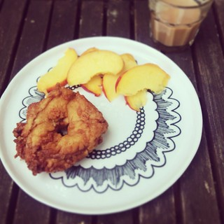 Apple fritter and fresh peaches
