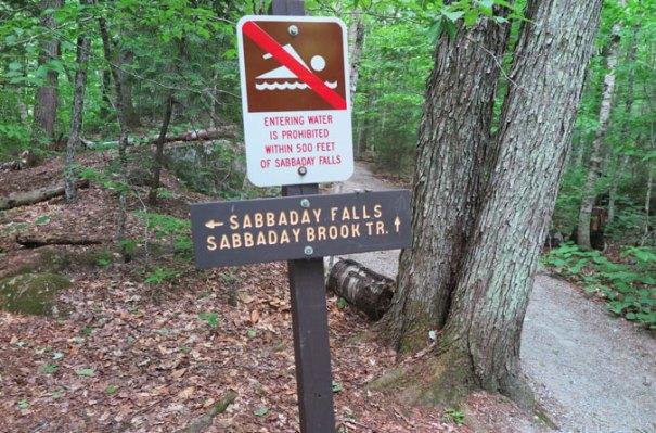 Sabbaday Falls Sign