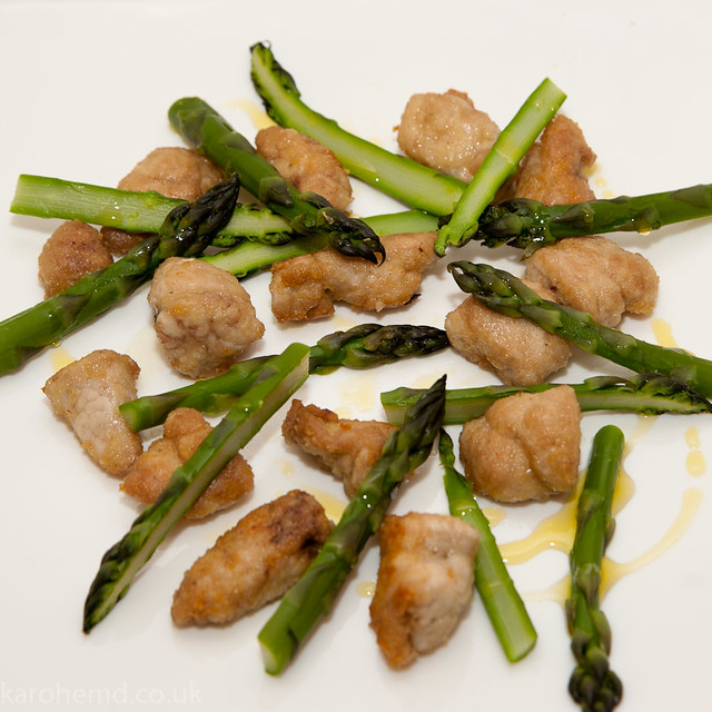Lamb sweetbreads, local asparagus