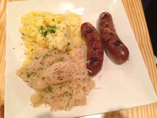 Bratwurst Sauerkraut and Potato Salad