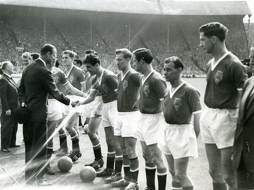 United being presented to Prince Philip prior to the 1958 FA Cup Final.