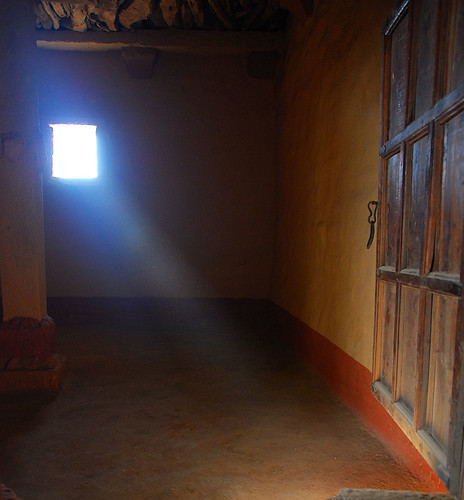 light streaming into one of the rooms of an abandoned village outside Jaisalmer