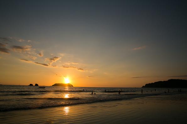 Sunset on Playa Manuel Antonio beach