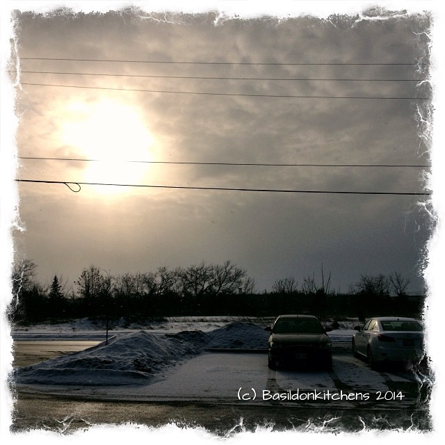16/1/2014 - sun {not much sun & lots of clouds today} Rhis is this afternoon's view from my office building #fmsphotoaday #sun #clouds #weather #winter #belleville