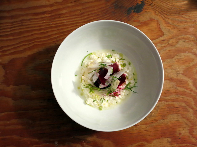 Roasted beets, with cow's milk ricotta cheese, shaved fennel and scallion