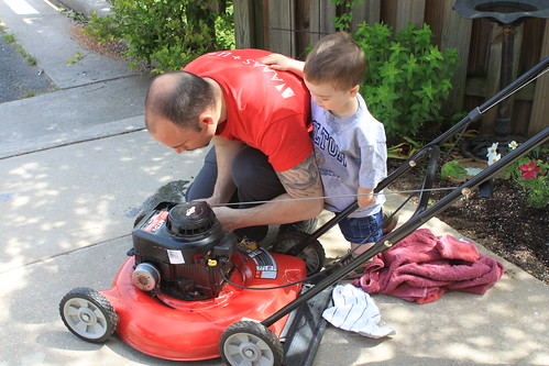 Memorial Day 2013 - Sagan Supervises Lawn Mower Repairs