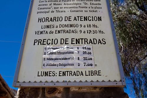 Precio de las entradas Pucara (Argentina)