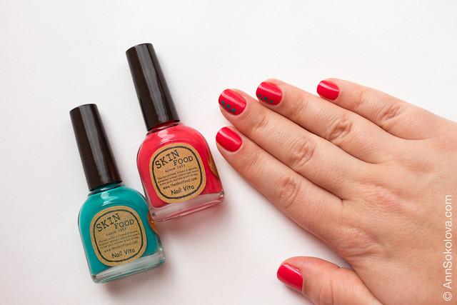 06 Skin Food nail Vita red RE108 blue BL514 Ann Sokolova swatches