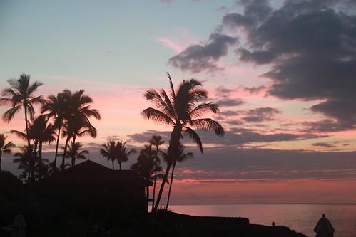 Pink sunset over Maui