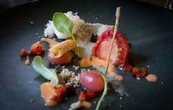 Course 1 - Homedried Tomato, sesame and aubergine puree, burnt aubergine jelly, goats cheese mouse