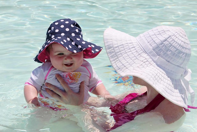Harper's first time at the pool