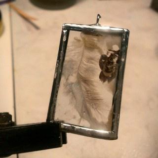 I am in love #solder #encaustic #feather #magic